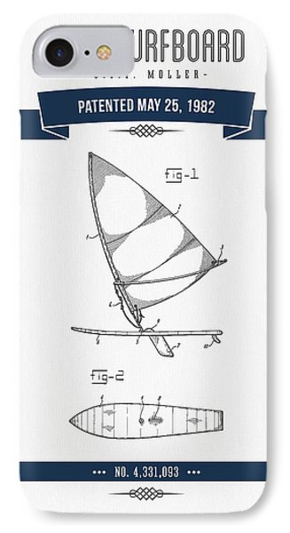 1982 Wind Surfboard Patent Drawing - Retro Navy Blue IPhone Case