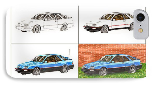 1985 Merkur Xr4ti Drawing Sequence IPhone Case by Jack Pumphrey