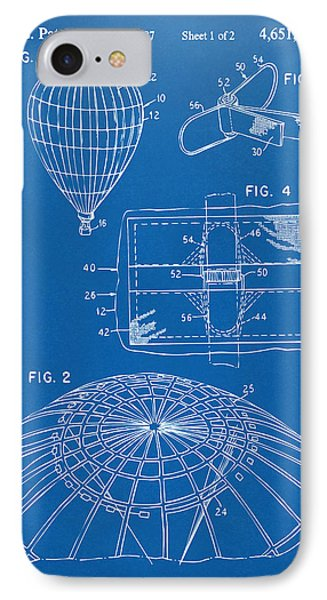 1987 Hot Air Balloon Patent Artwork - Blueprint IPhone Case by Nikki Marie Smith