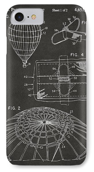 1987 Hot Air Balloon Patent Artwork - Gray IPhone Case by Nikki Marie Smith
