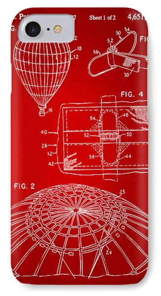 1987 Hot Air Balloon Patent Artwork - Red IPhone Case by Nikki Marie Smith