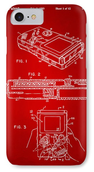 1993 Nintendo Game Boy Patent Artwork Red IPhone Case by Nikki Marie Smith