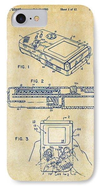 1993 Nintendo Game Boy Patent Artwork Vintage IPhone Case by Nikki Marie Smith