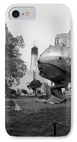1w T C And The W T C Fountain Sphere In Black And White Phone Case by Rob Hans