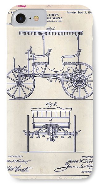 1900 Automobile Patent Drawing IPhone Case by Jon Neidert