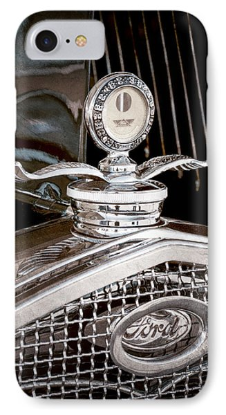 1931 Model A Ford Deluxe Roadster Hood Ornament IPhone Case by Jill Reger