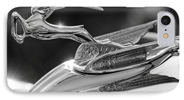 1933 Chrysler Imperial Hood Ornament -0484bw IPhone Case