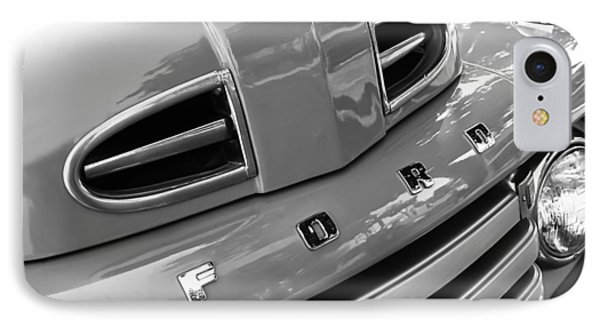1949 Ford F-1 Pickup Truck Grille Emblem -0009bw IPhone Case by Jill Reger