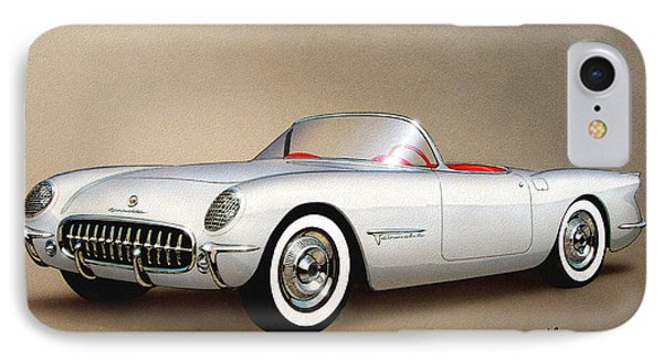 1953 Corvette Classic Vintage Sports Car Automotive Art IPhone Case by John Samsen