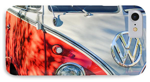 96 Inch Panoramic - 1961 Volkswagen Vw 23-window Deluxe Station Wagon Emblem IPhone Case by Jill Reger