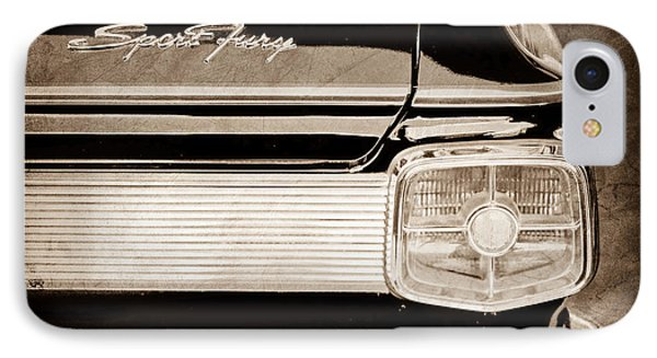 1963 Plymouth Sport Fury Taillight Emblem IPhone Case by Jill Reger