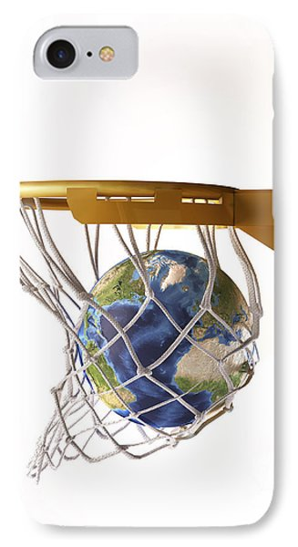 3d Rendering Of Planet Earth Falling Phone Case by Leonello Calvetti