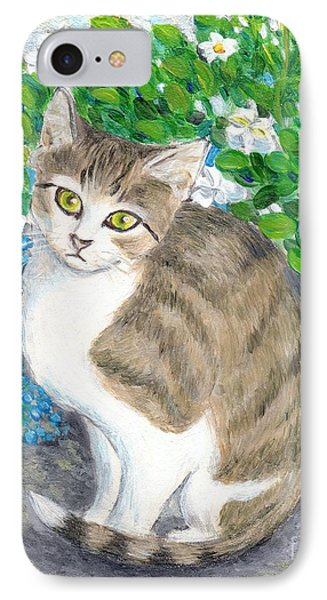 IPhone Case featuring the painting A Cat And Flowers by Jingfen Hwu