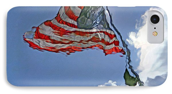 A Flag's Watery Reflection IPhone Case by Cora Wandel