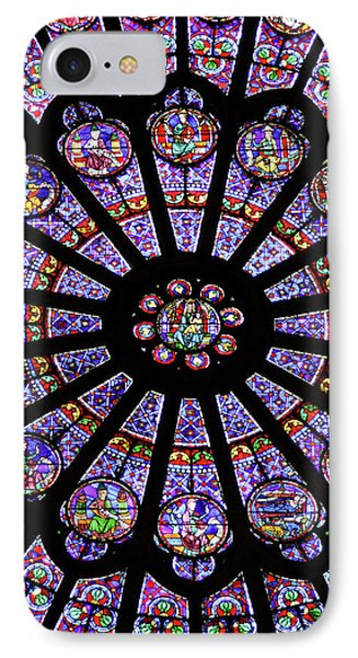 A Rose Window In Notre Dame Cathedral IPhone Case by William Sutton