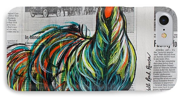 IPhone Case featuring the painting A Well Read Rooster by Janice Rae Pariza