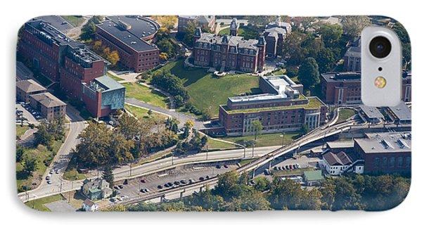 aerials of WVVU campus IPhone Case by Dan Friend