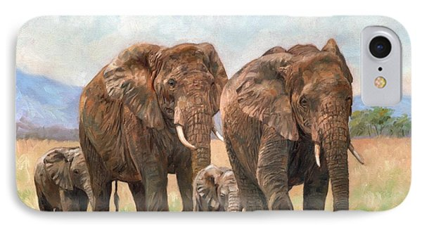 African Elephants IPhone Case by David Stribbling