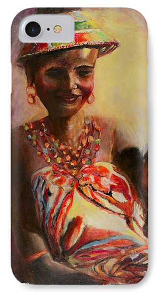 IPhone Case featuring the painting African Mother And Child by Sher Nasser