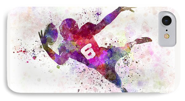 American Football Player Catching Ball  Silhouette IPhone Case by Pablo Romero