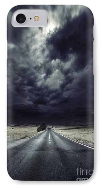 An Asphalt Road With Stormy Sky Above Phone Case by Evgeny Kuklev