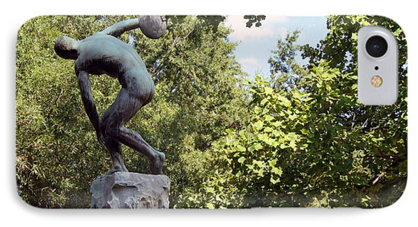Discobolus The Discus Thrower In Washington -- 2 IPhone Case by Cora Wandel
