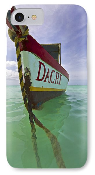 Anchored Colorful Fishing Boat Of Aruba II IPhone Case by David Letts