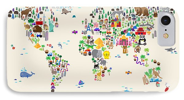 Animal Map Of The World For Children And Kids IPhone Case by Michael Tompsett