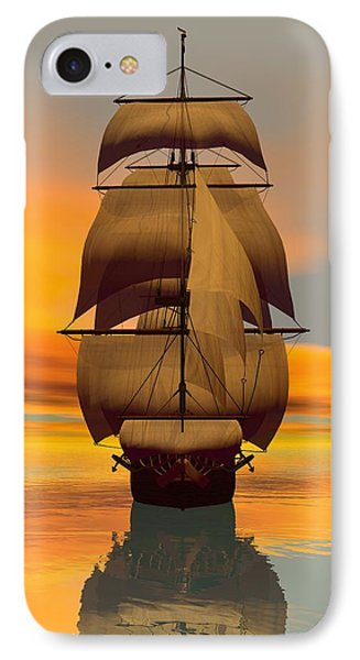 IPhone Case featuring the digital art At Full Sail by Sandra Bauser Digital Art