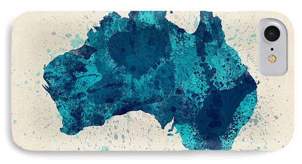 Australia Paint Splashes Map IPhone Case by Michael Tompsett