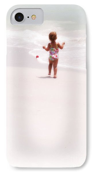 Baby Chases Red Ball IPhone Case by Valerie Reeves