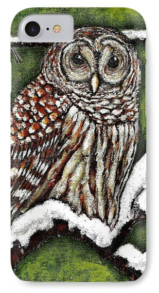 IPhone Case featuring the painting Barred Owl by VLee Watson
