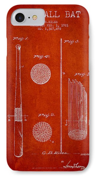 Baseball Bat Patent Drawing From 1921 IPhone Case by Aged Pixel
