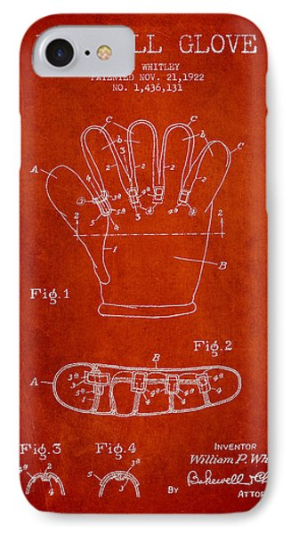 Baseball Glove Patent Drawing From 1922 IPhone Case by Aged Pixel