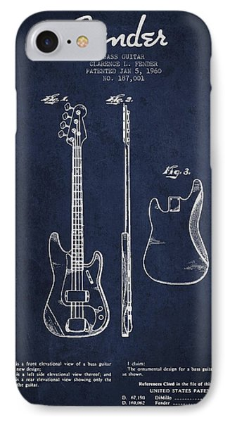 Bass Guitar Patent Drawing From 1960 IPhone Case by Aged Pixel