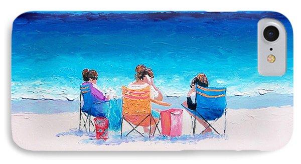 Beach Painting 'girl Friends' By Jan Matson IPhone Case by Jan Matson