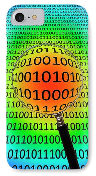 Binary Code And Magnifying Glass IPhone Case by Victor De Schwanberg