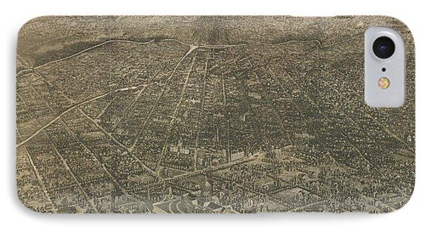 Birdseye Map Of Denver Colorado - 1887 IPhone Case by Eric Glaser