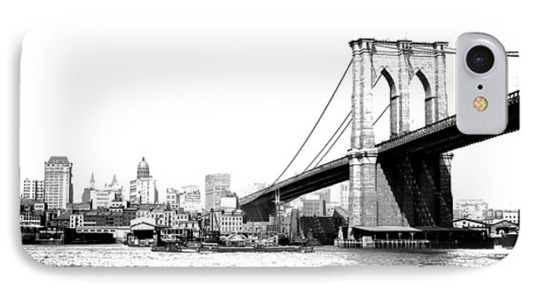 IPhone Case featuring the photograph Black And White Abstract City Photography...brooklyn Bridge by Amy Giacomelli