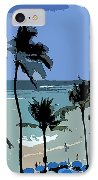 Blue Beach Umbrellas IPhone Case by Karen Nicholson