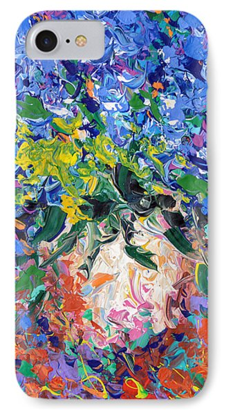 IPhone Case featuring the painting Blue Flowers by Dmitry Spiros