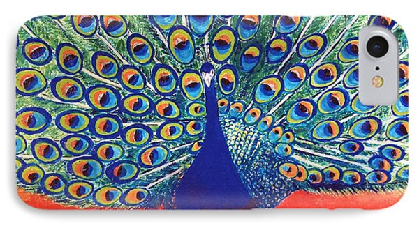 IPhone Case featuring the painting Blue Peacock by Jasna Gopic
