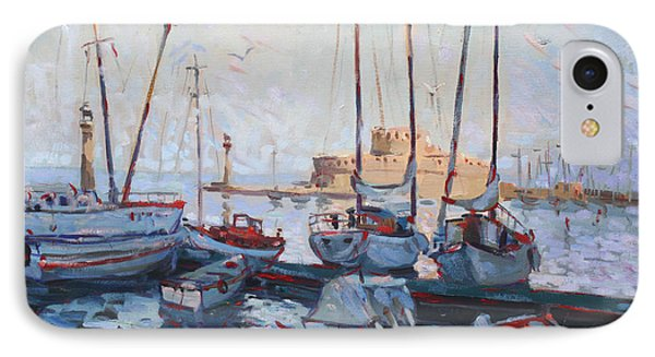 Boats In Rhodes Greece  IPhone Case by Ylli Haruni