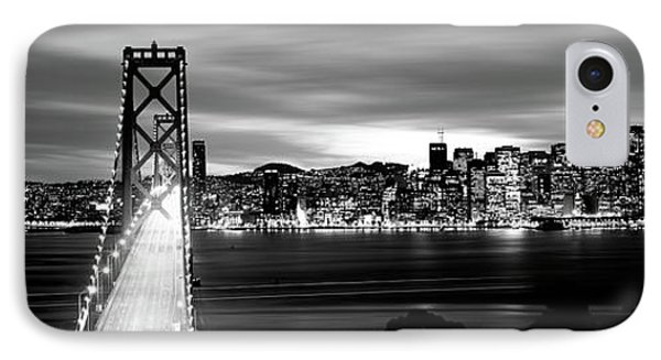 Bridge Lit Up At Dusk, Bay Bridge, San IPhone Case by Panoramic Images