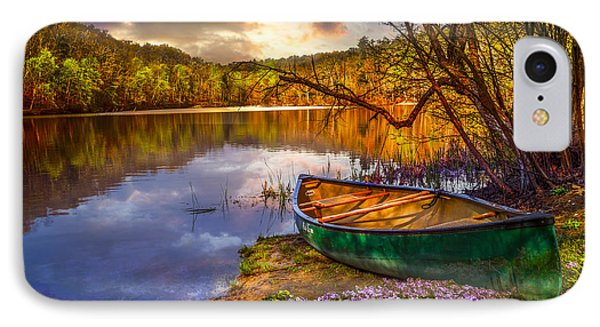 Canoe At The Lake Phone Case by Debra and Dave Vanderlaan