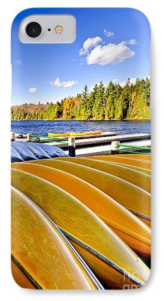 Canoes On Autumn Lake Phone Case by Elena Elisseeva