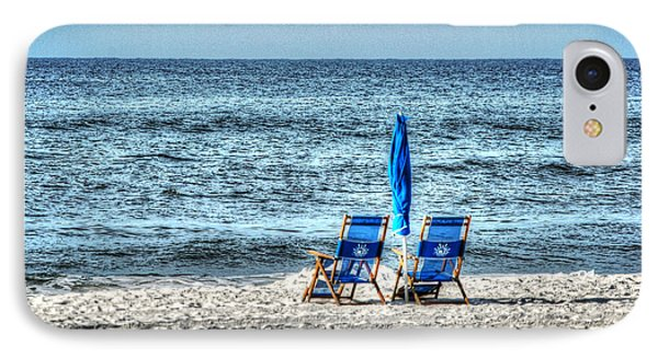 2 Chairs And Umbrella IPhone Case by Michael Thomas
