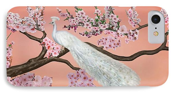 Cherry Blossom Peacock IPhone Case by Glenn Holbrook
