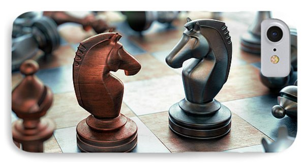 Chess Pieces On Chess Board IPhone Case