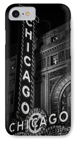 Chicago Theatre Sign In Black And White IPhone Case by Paul Velgos
